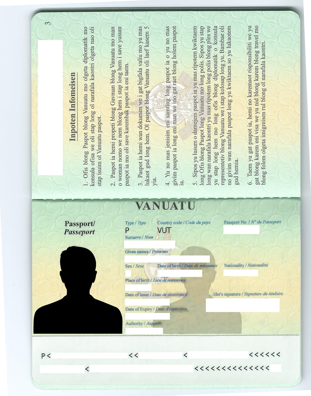 The personal information page of a Vanuatu passport
