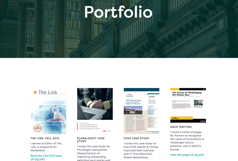 This page has a header image, more space in the gutters, titles and descriptions with links to the complete underlying asset related to the thumbnail image.