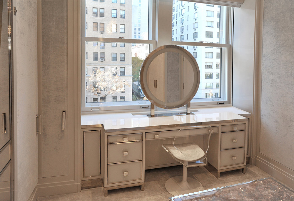 Vanity – white glass, polished nickel