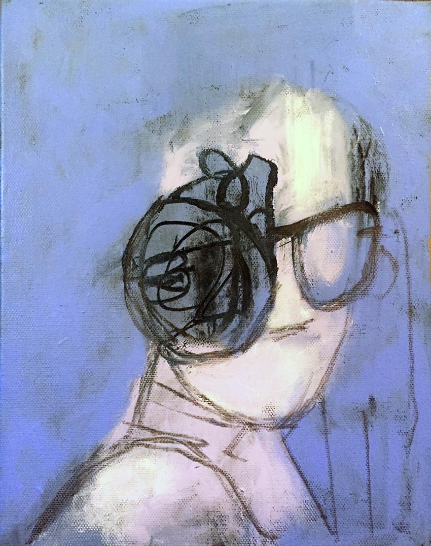 "Invisible Woman 8"" x 10"" Acrylic Oil Graphite on Canvas"
