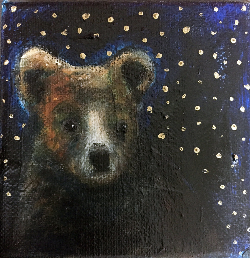 """Little Night Bear"" 4"" x 4"" Oil Acrylic Graphite on Canvas Bid until September 8, 2016"
