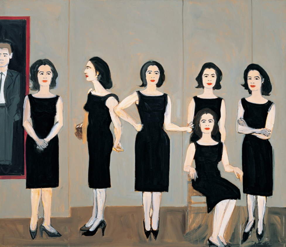 The Black Dress (1960).Oil on linen, 72x94 inches.Collection of the artist.