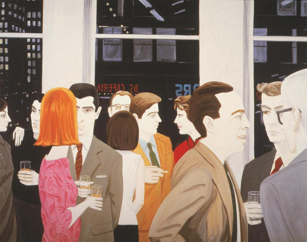 The Cocktail Party (1965). Oil on Canvas, 72x96 inches.   Collection Paul Jacques Schupf  , New York.