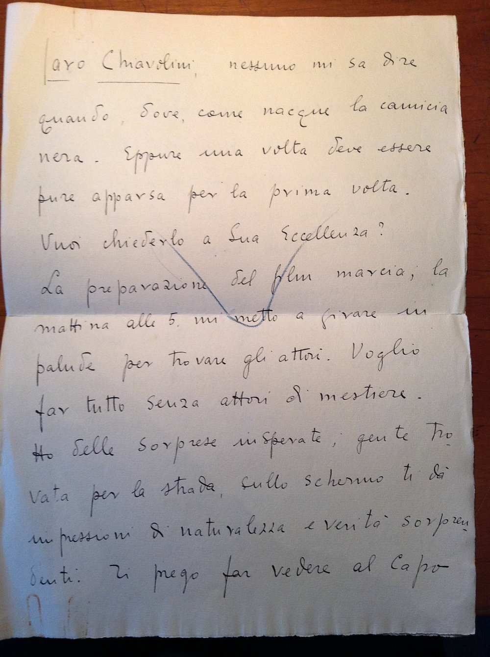 Letter to Alessandro Chiavolini from Giovacchino Forzano. Central Archives of the State, Segreteria Particolare del Duce, Carteggio Riservato, busta 85 Forzano. Property of the author.