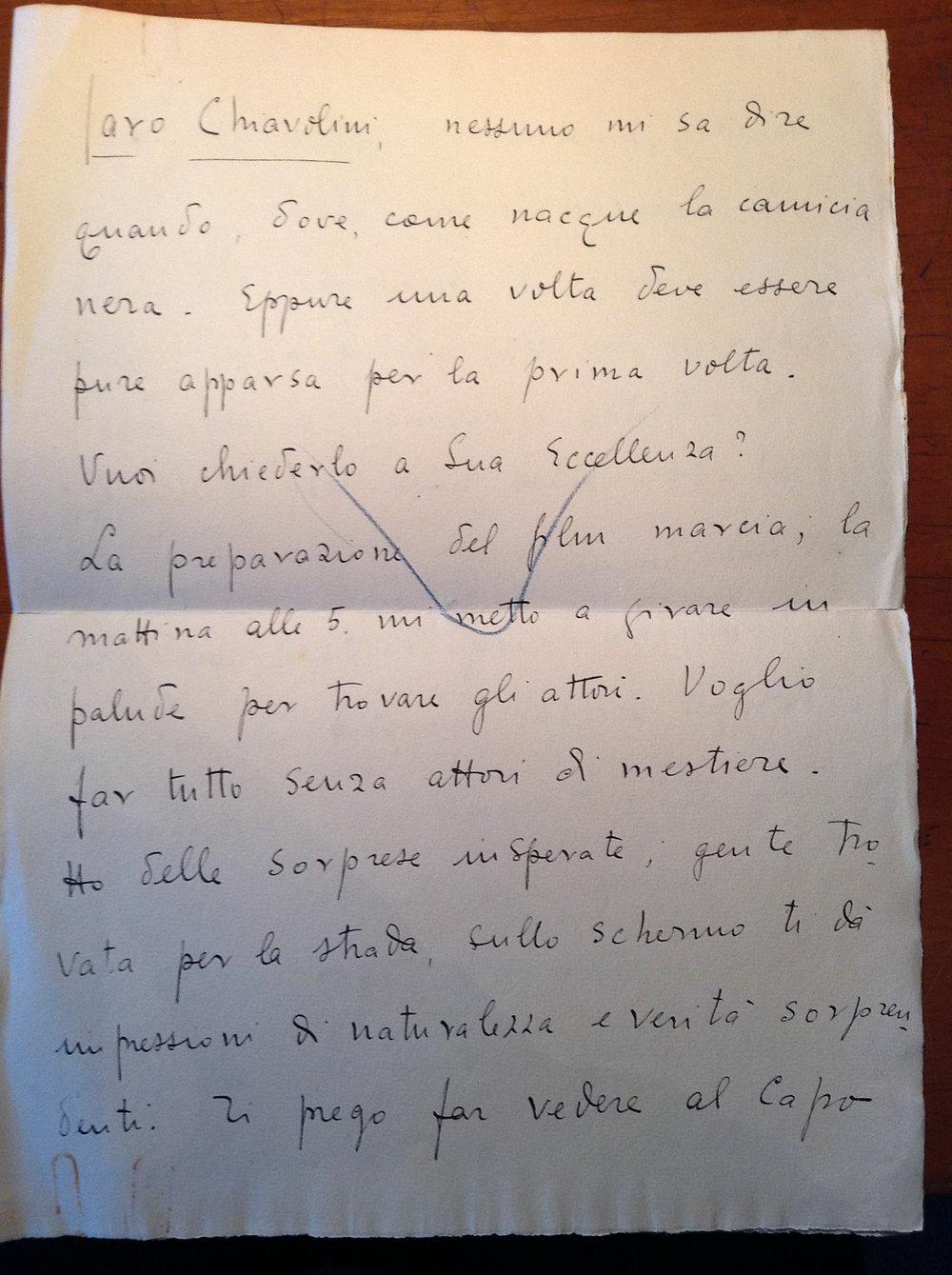 Letter to Alessandro Chiavolini from Giovacchino Forzano. Central Archives of the State, Segreteria Particolare del Duce, Carteggio Riservato, busta 85 Forzano. Property of the author.