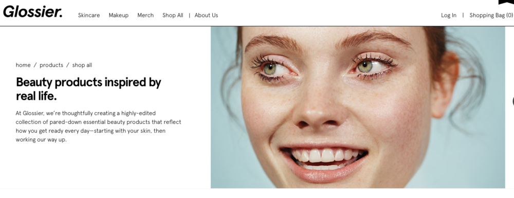 Screenshot from the Glossier website.