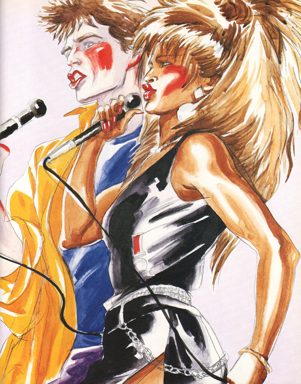 """Antonio Lopez, Tina Turner and Mick Jagger, 1986, Pencil/watercolor on paper, 17"""" x 14"""", Courtesy of the Estate of Antonio Lopez &Juan Ramos. Reproduced with permission from Museo del Barrio."""