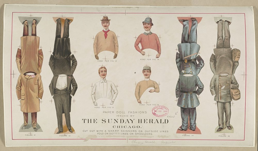 Paper Doll Fashions Issued by  The Sunday Herald   Chicago , ca. 1896. Courtesy of  The Library of Congress .