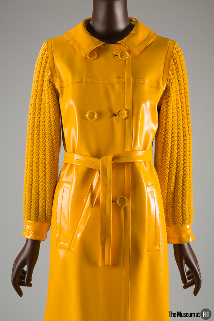 Yves Saint Laurent Rive Gauche, raincoat, 1966, gift of Ethel Scull. 77.21.4 Photograph by Eileen Costa, courtesy of the Museum at FIT.