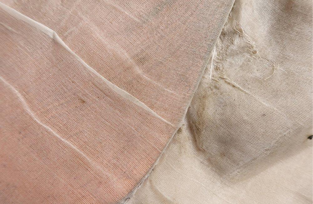 Ellen Sampson (2015). Cloth  (Photograph. Silk, gauze, copper leaf, leather shoes). Copyright 2016 Ellen Sampson.