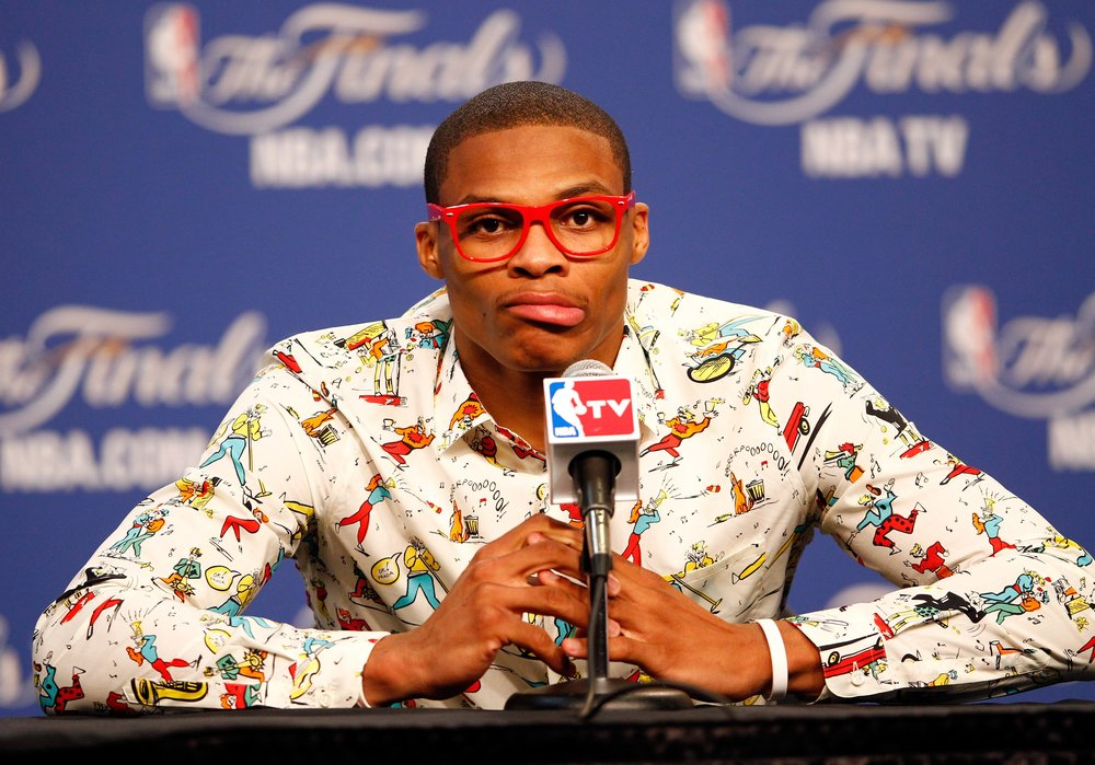 Westbrook at a press conference after Game 1 of the 2012 Finals, wearing a Prada shirt and lensless, plastic glasses. Image  via GQ .