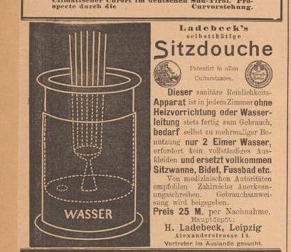"""""""Sitzdouche"""" advertisement in  Der Bazar  1898. Image courtesy of Universitaets- und Landesbibliothek Duesseldorf."""