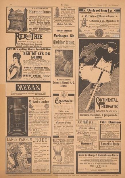 Bicycle advertisement in  Der Bazar  1898. Image courtesy of Universitaets- und Landesbibliothek Duesseldorf.