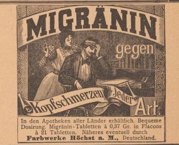 Migraine medication in  Der Bazar  1898. Image courtesy of Universitaets- und Landesbibliothek Duesseldorf.