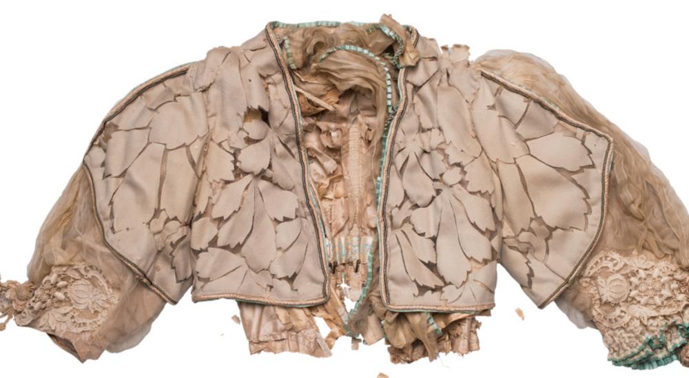 Detail of a Redfern silk dress. Photo by Camilla Glorioso. Copyright Camilla Glorioso. Courtesy Fashion Space Gallery.