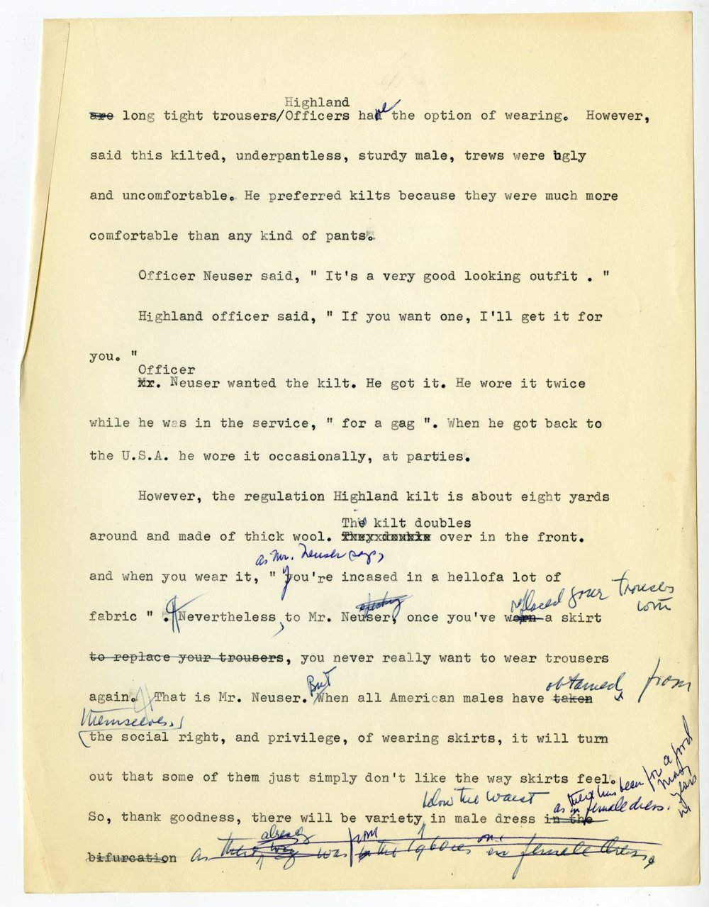 "Hawes, Elizabeth. Unpublished manuscript draft entitled ""Me & Skirts & Men. Undated. Elizabeth Hawes Papers, box 3, folder 8. FIT Special Collections and College Archive, Fashion Institute of Technology, New York, NY.  Image courtesy of Fashion Institute of Technology