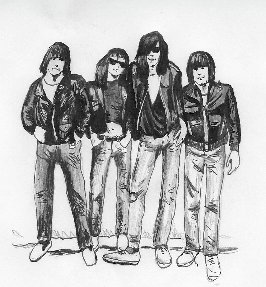 The Ramones in Perfecto jackets. Illustration by Catharina Russ.