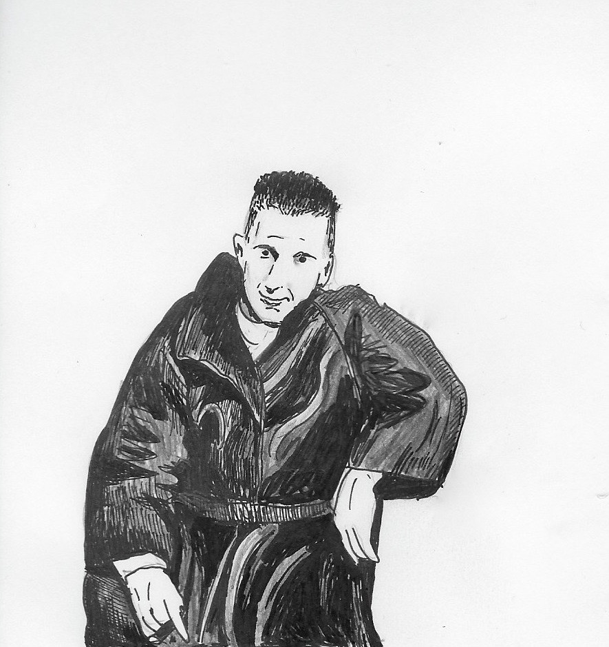 Bertolt Brecht in leather. Illustration by Catharina Russ.