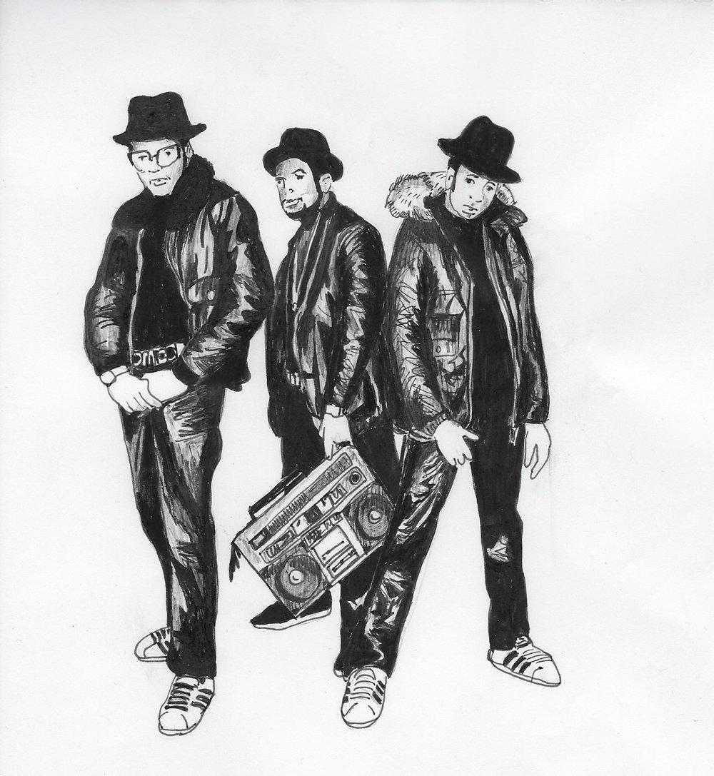 Run D.M.C. Illustration by Catharina Russ.