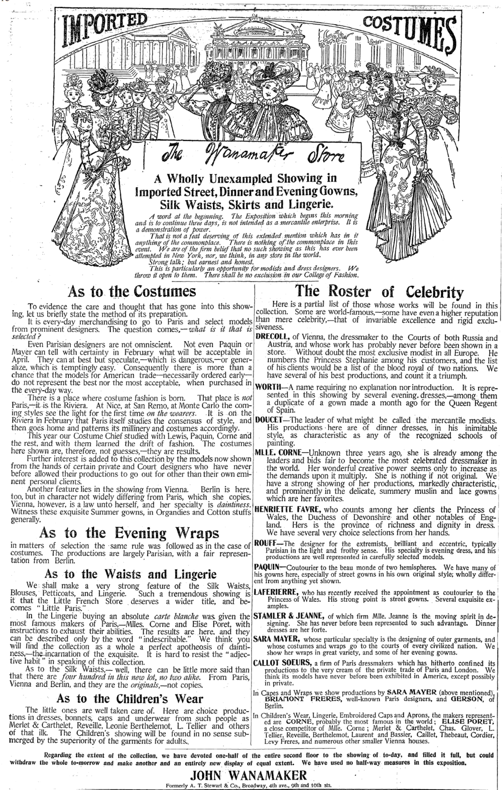 """""""The Wanamaker Store"""" Advertisement.  New York Times,  March 31, 1898. ( New York Times  Digital Archives.)"""