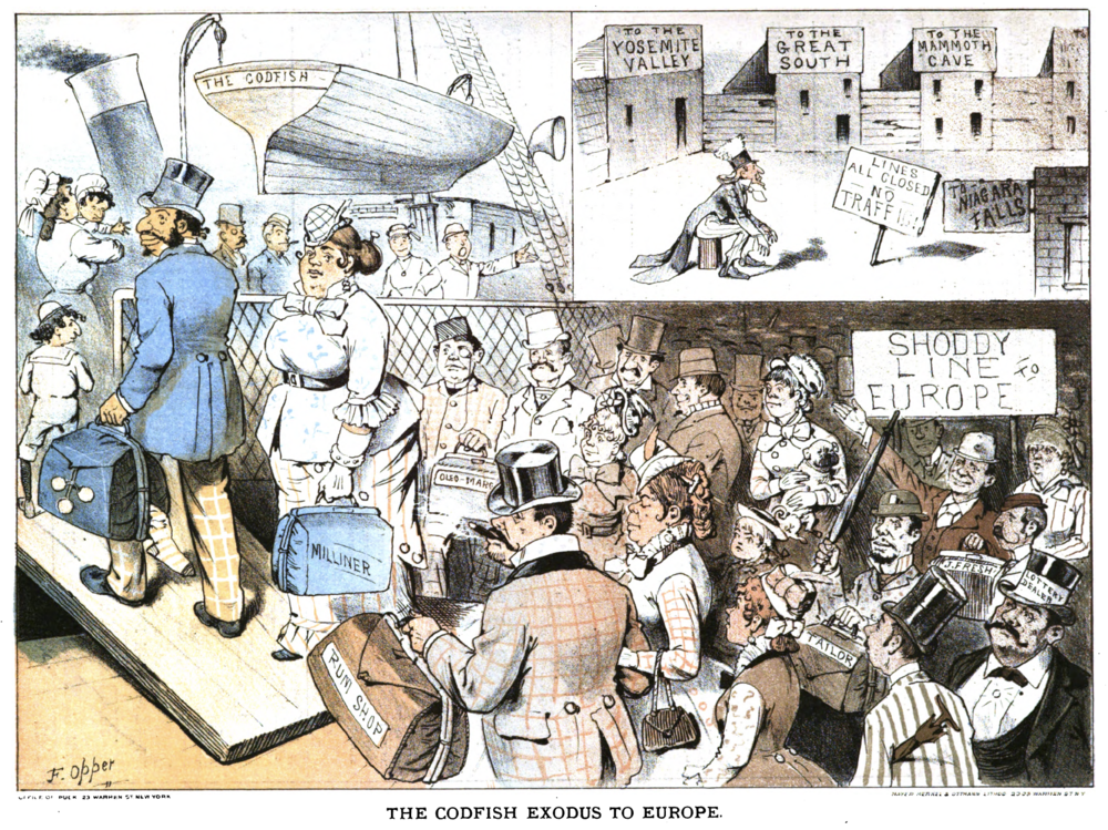 """Codfish Exodus.""  Puck Magazine,  May 12, 1880."