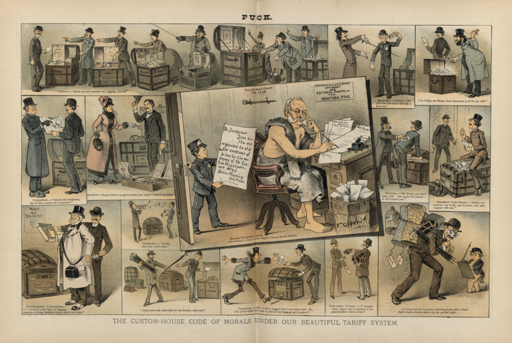"""The Custom-House Code of Morals Under Our Beautiful Tariff System,""""  Puck Magazine,  October 14 1885. (Library of Congress)"""