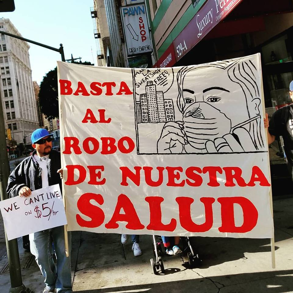 """""""Stop the Theft of Our Health,"""" Photo courtesy Garment Worker Center."""