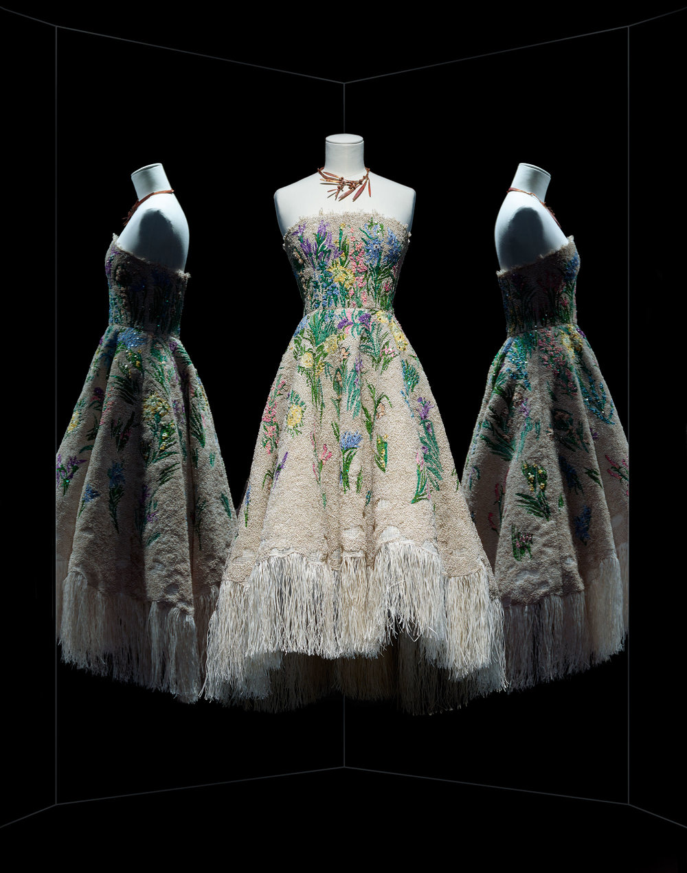 Maria Grazia Chiuri for Christian Dior, Essence d'herbier cocktail dress, Haute Couture, Spring-Summer 2017 Ecru fringe cocktail dress, floral raffia and thread embroidery adorned with Swarovski crystals, derived from a Christian Dior original embroidery ©~MAD / Nicholas Alan Cope