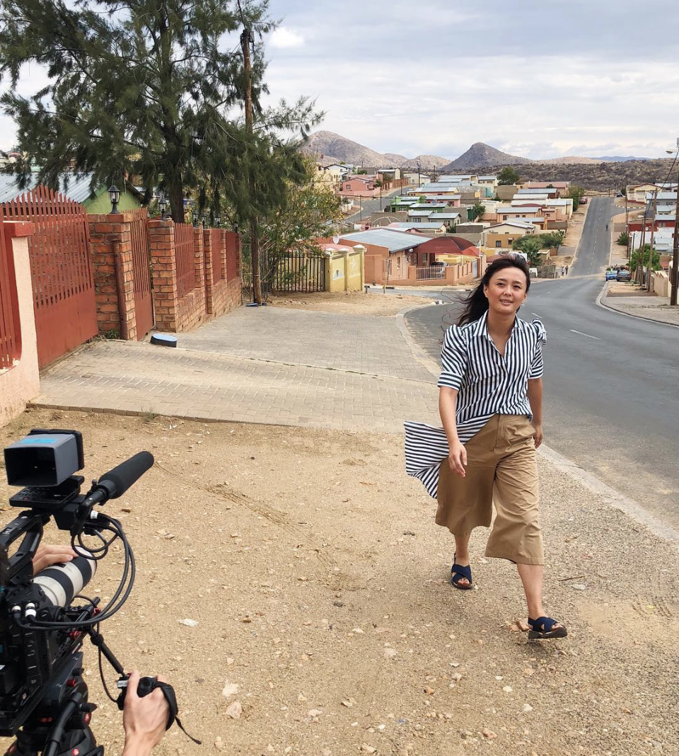 Connie Wang on location in Windhoek, Namibia, from her Instagram, @conconwang