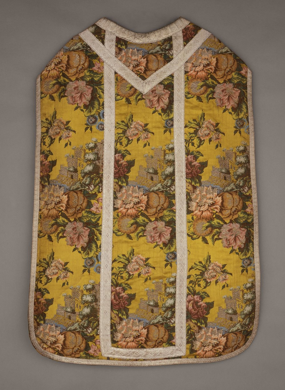 Eighteenth-century chasuble with floral embroidery. Image via WikiCommons.
