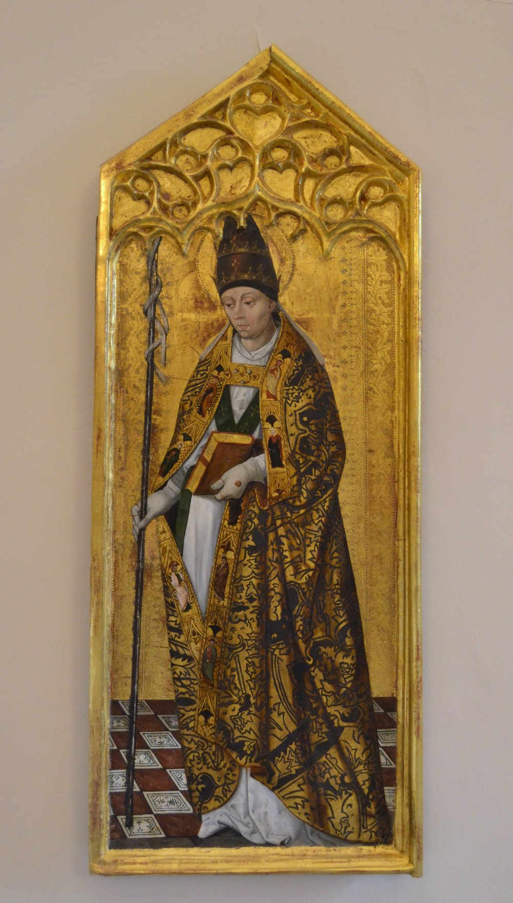A sixteenth-century panel painting of Pope Saint Gregory the Great in the papal tiara and a pluvial cope. Image via WikiCommons.