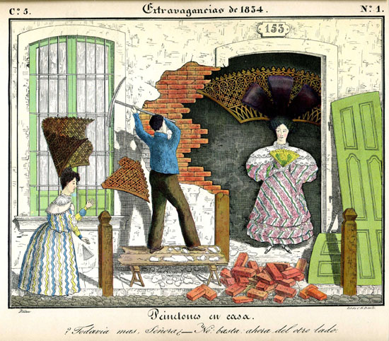"""César Hipólito Bacle colored lithograph: """" Peinetones  at home.""""  National Library of Argentina, Buenos Aires."""