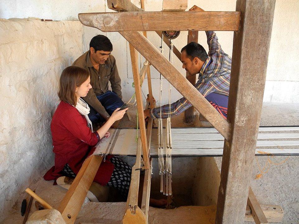 First day on the loom with teachers Jentilal Premji Bokhani and Prakash Siju.   Photo: Lokesh Ghai