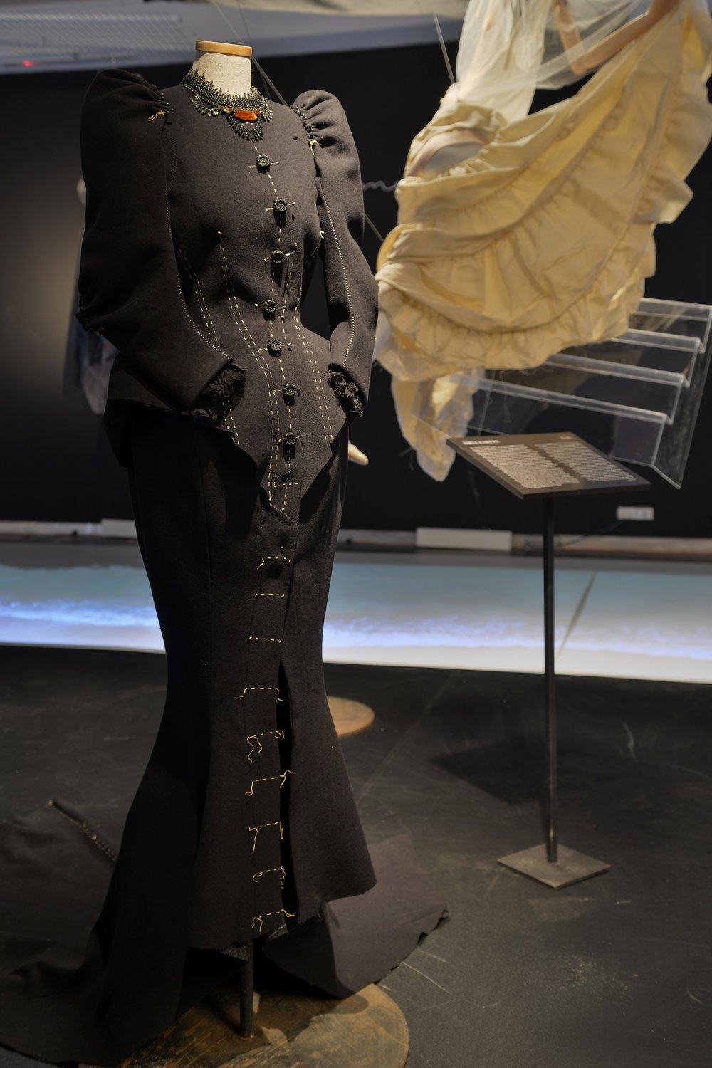 """Betty Eldad's dress, from the exhibition """"Je t'aime, Ronit Elkabetz"""" at Design Museum Holon. Photo by Shay Ben Efraim. Courtesy the author."""