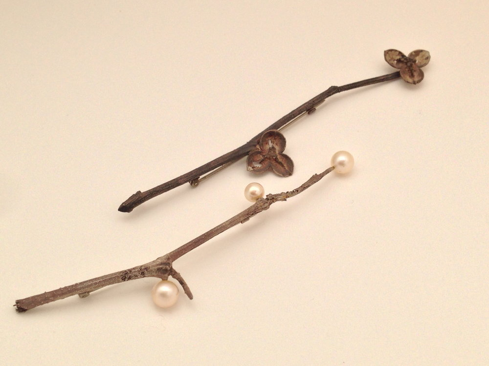 cultured pearl and silver branch brooches