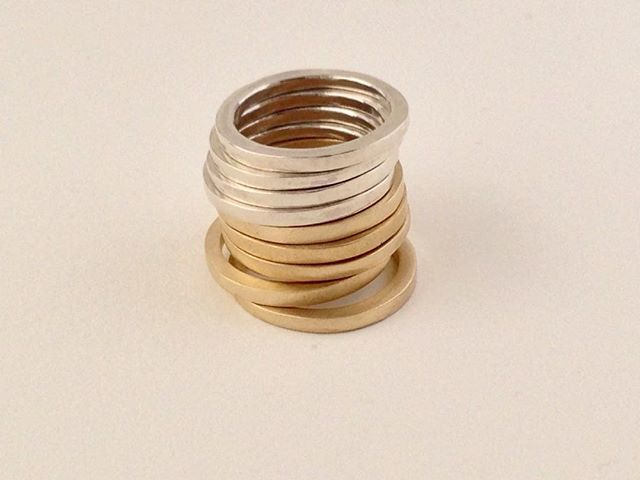 new, skinny bands in yellow bronze and sterling silver!