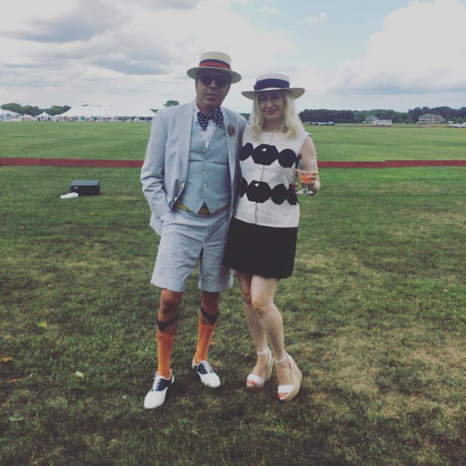 At the Polo Classic in Maple Plain in August in vintage dress from the Golden Pearl Vintage (with Richard Anderson)