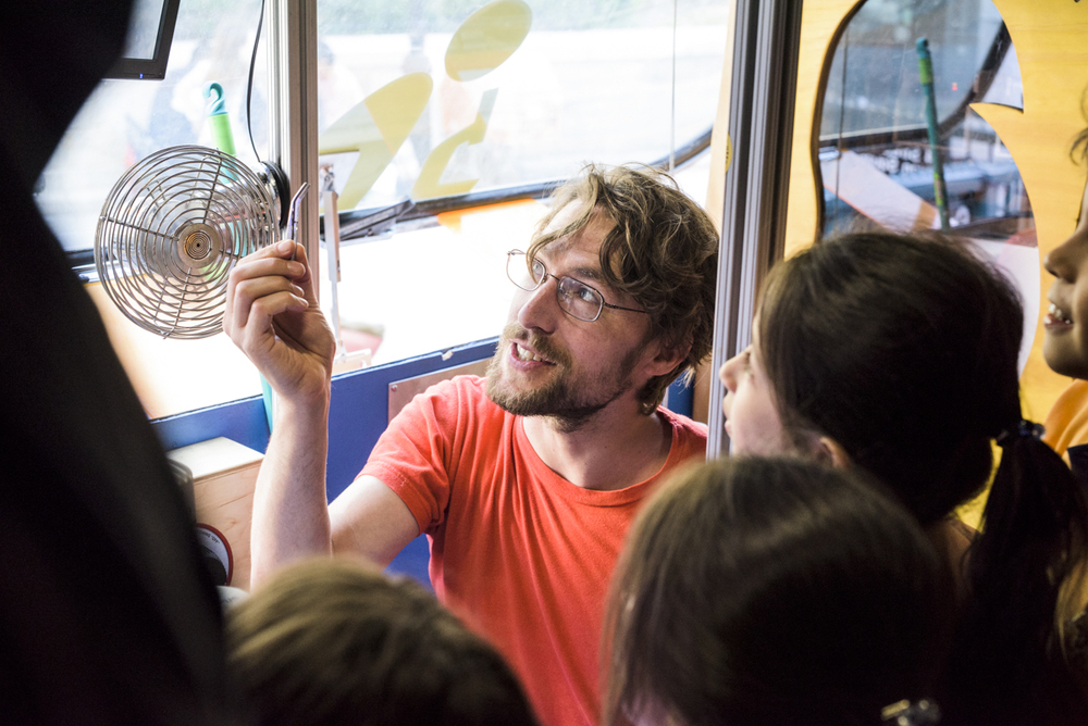 Fun and learning for all ages aboard the BioBus at Earth Day New York.