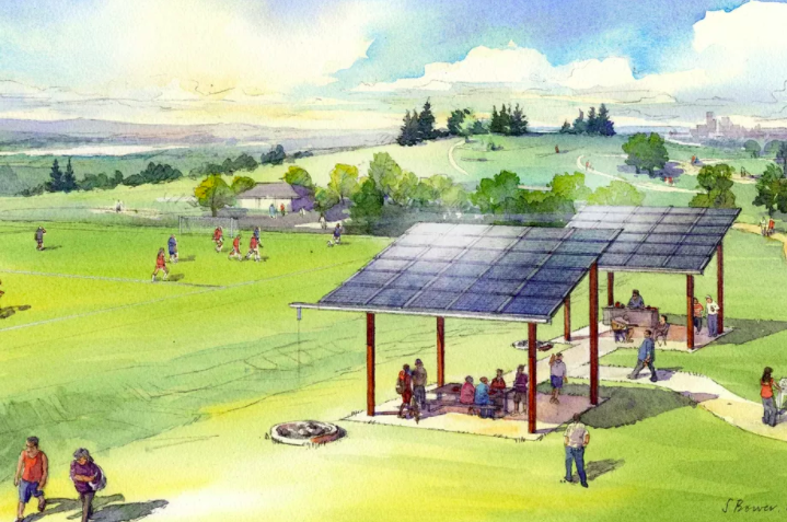 (Image above:  Sketch of a shared solar project in Seattle.  (Stephanie Bower, via Seattle City Light) )