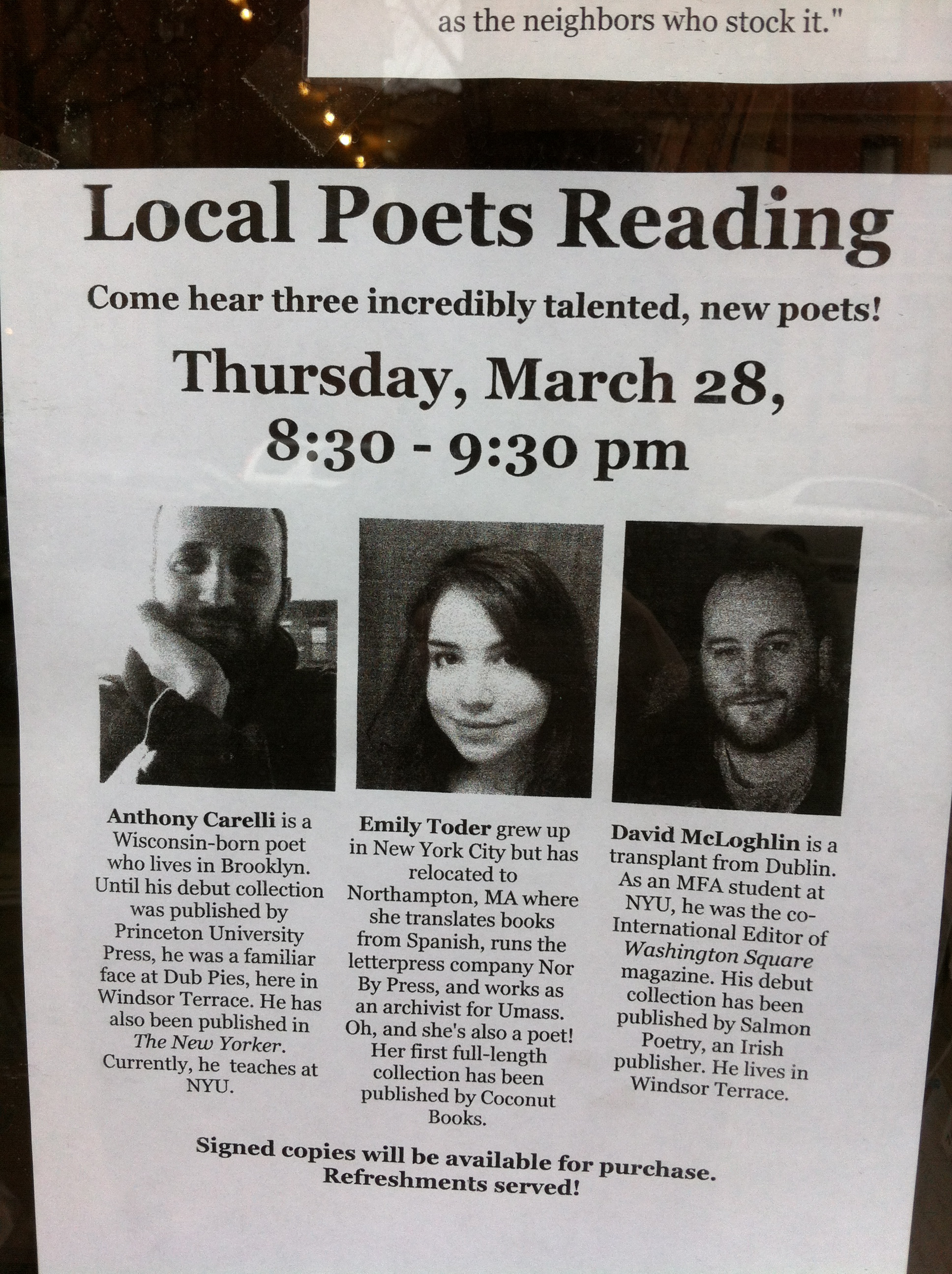 Emily Toder, Anthony Carelli, and David McLoghlin Read!