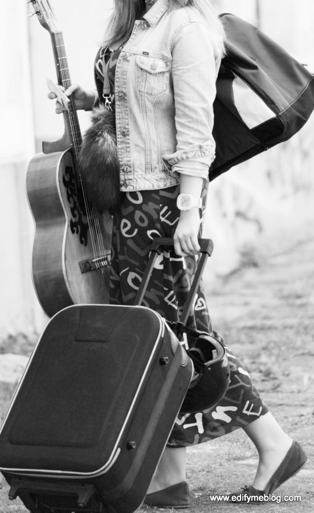 Beautiful musician woman traveling