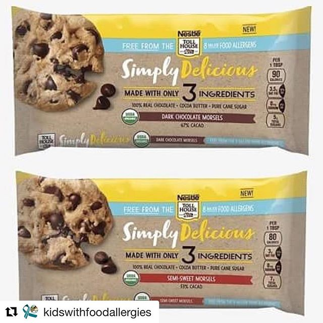 #Repost @kidswithfoodallergies with @get_repost ・・・ Have you heard? NESTLÉ TOLL HOUSE announced the launch of Simply Delicious Morsels made with only cocoa butter, pure cane sugar and 100% real chocolate and are free from the eight major food allergens. Available in June. More info at kidswithfoodallergies.org/blog (link in bio)  #newfoodfind #mncoteen Have you found a new allergy-friendly food? Let us know!