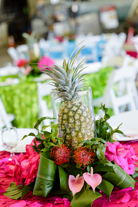 The pineapple centerpieces were a big it!