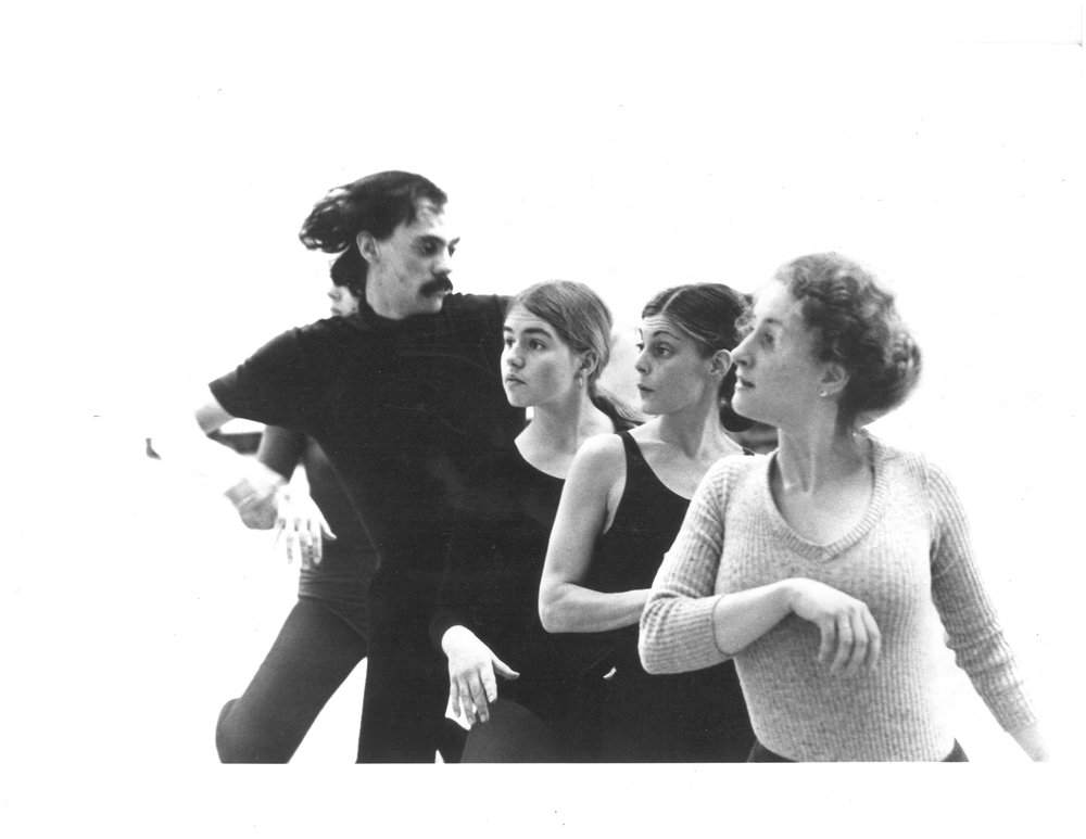 Michael  Robins, Pamela Hanson , Carol Harris Lipschultz, and Sheila Gowan, ( Bonnie is behindMichael )rehearsing forone of the first performances of Illusion Theater.