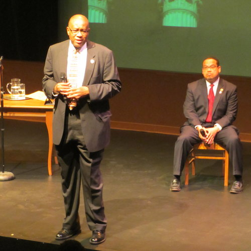 Judge Michael Davis and Keith Ellison in the post-play discussion after a performance of Thurgood in Minneapolis .