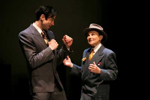 "Sam Bardwell as Max Schmeling and Tovah Feldshuh as Joe Jacobs in ""Dancing With Giants"""