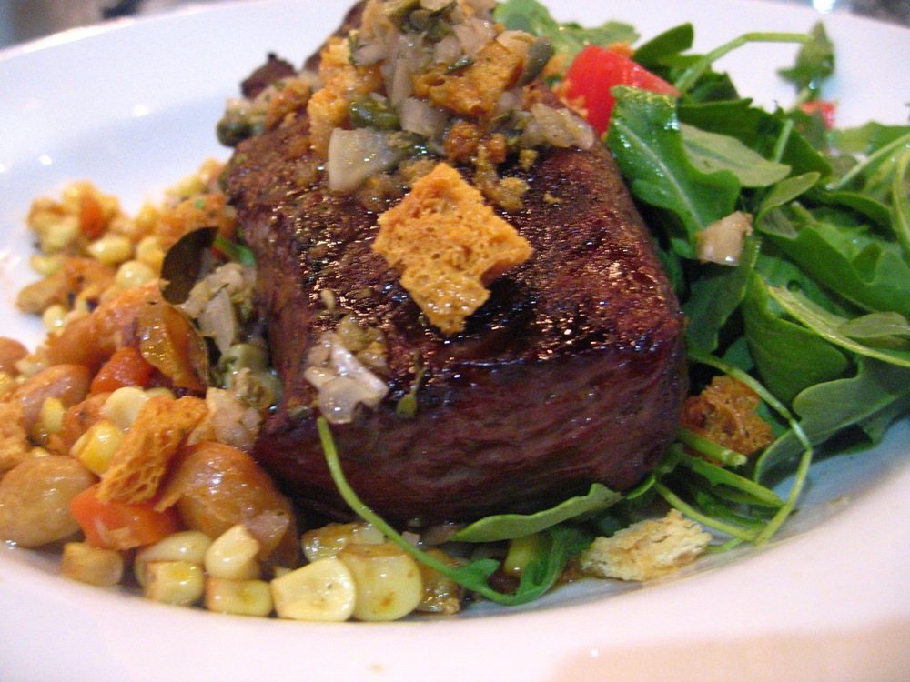 Hangar steak, toasted breadcrumb salsa, fresh cranberry bean succotash & heirloom tomato arugula salad