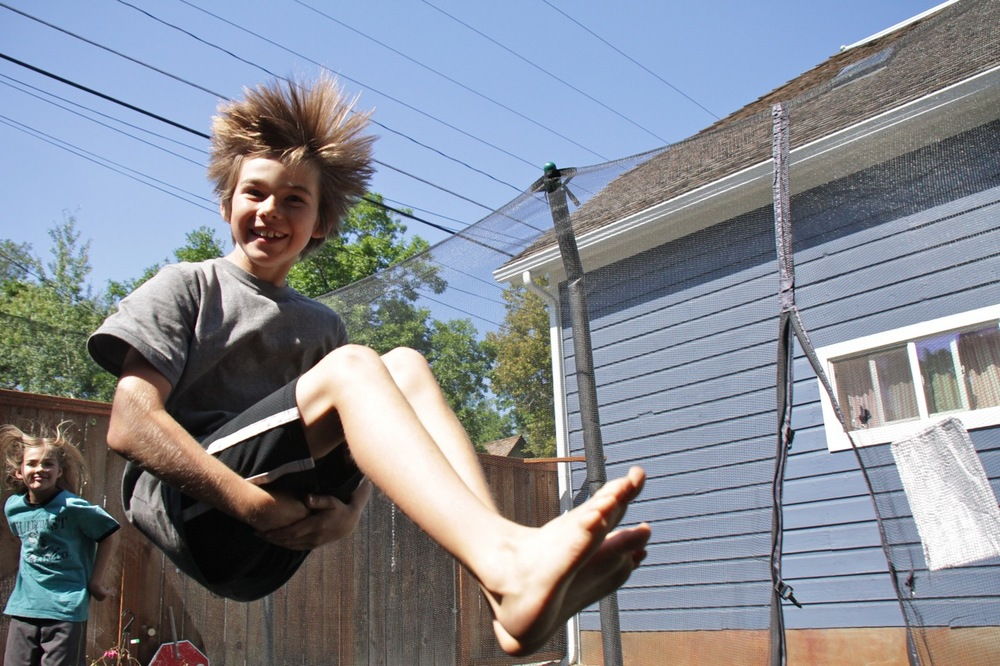Eric and Annie on the trampoline