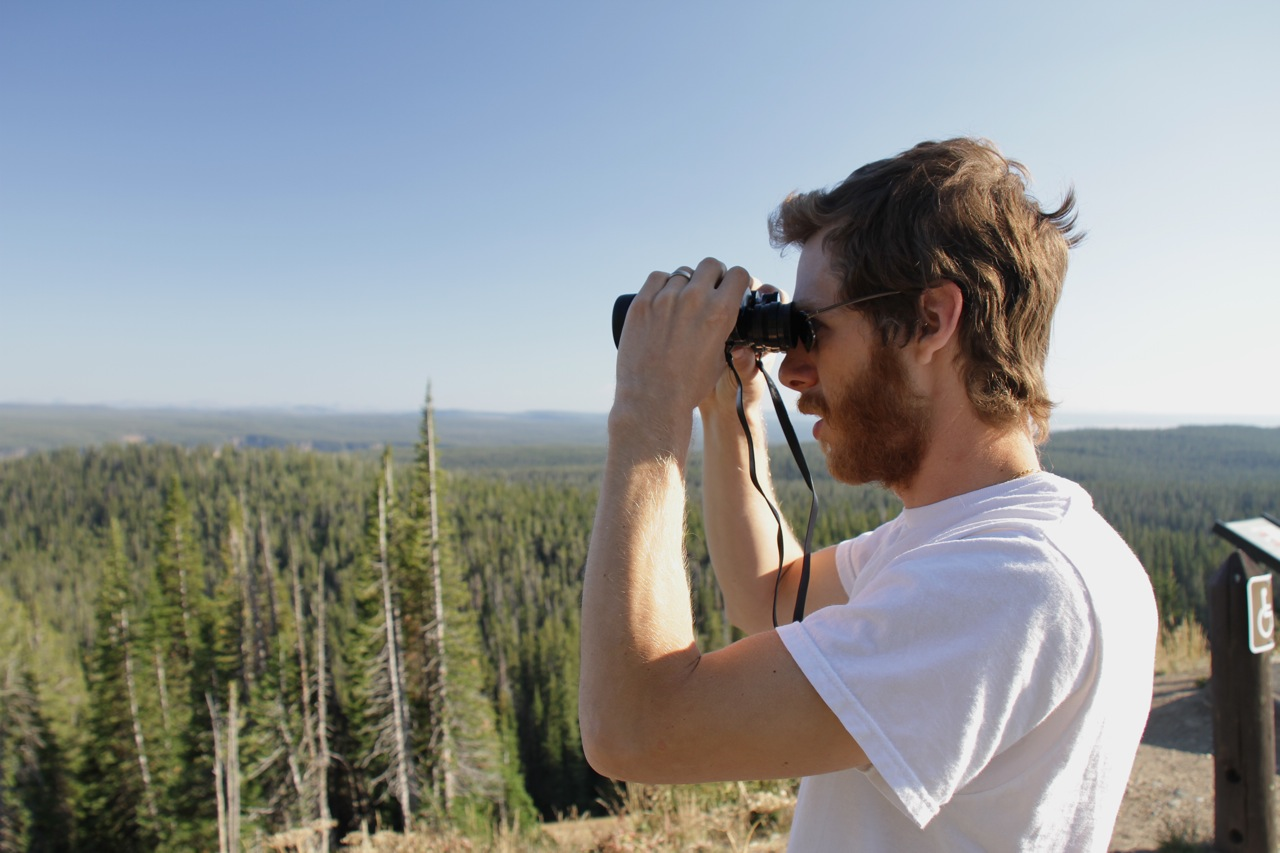 Loren with binoculars