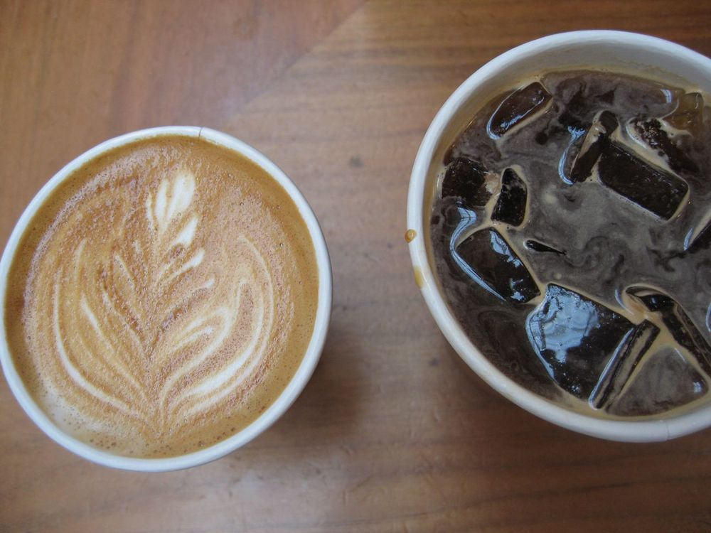 Blue Bottle cappuccino and iced americano